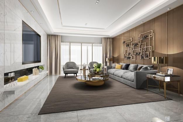 Salon de luxe loft rendu 3d avec étagère