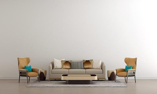 Le salon de luxe moderne et la décoration de meubles simulés et le fond de mur blanc