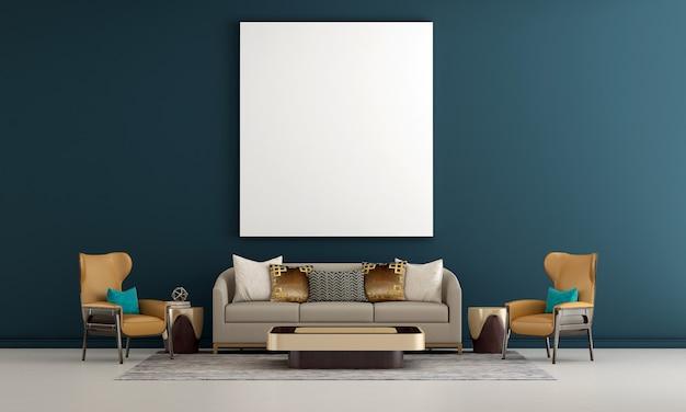 Le salon de luxe moderne et la décoration de meubles simulés et le fond de mur bleu