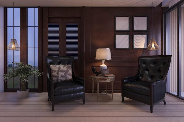 Salon de luxe rendu 3d avec des meubles classiques dans la scène crépuscule