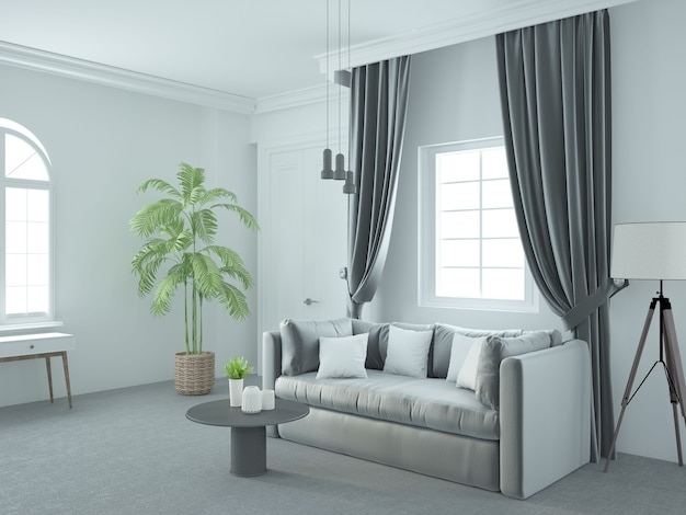 Salon luxueux blanc élégant avec canapé en velours