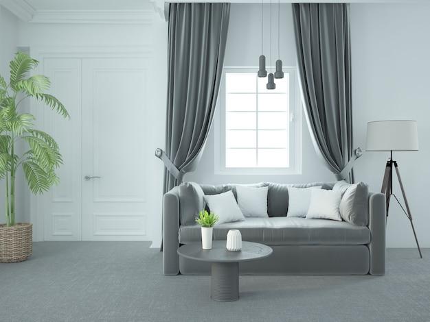 Salon luxueux blanc élégant avec des meubles modernes et un canapé en velours