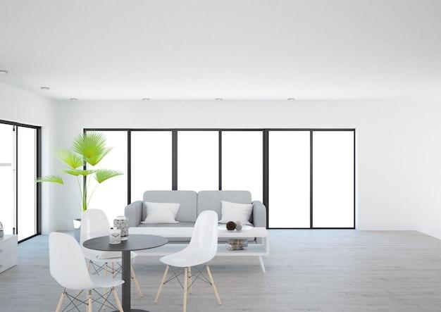 Salon luxueux et minimaliste moderne