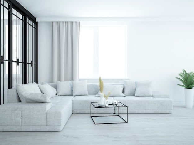 Salon luxueux de style loft avec canapé confortable et table basse