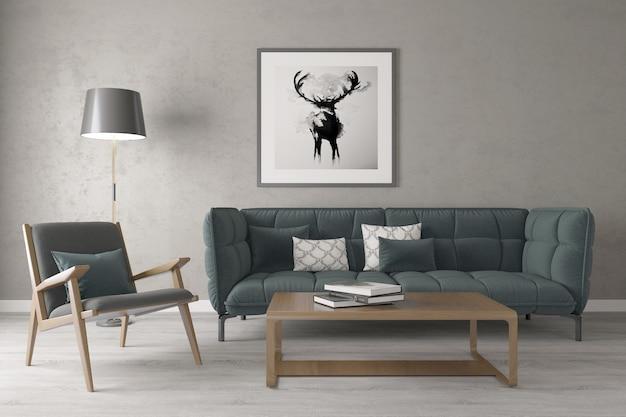 Salon de maison moderne avec cadre photo sur le mur