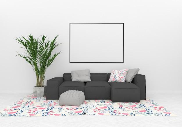 Salon avec maquette de cadre horizontal
