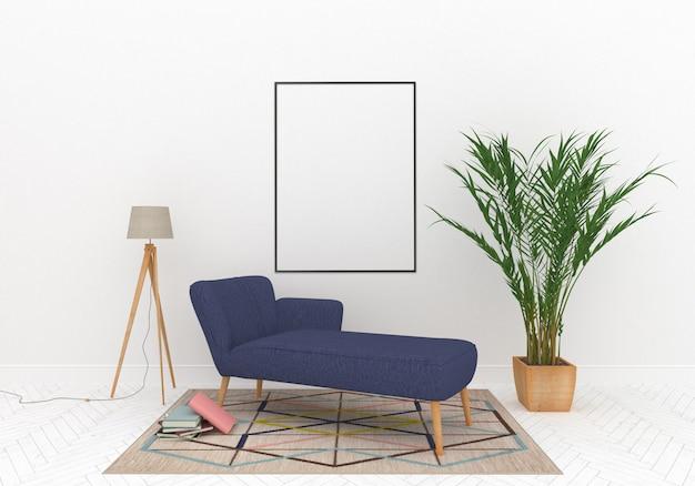 Salon avec maquette de cadre vertical