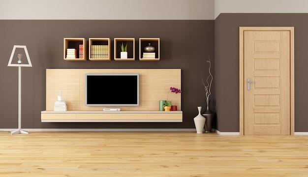 Salon marron avec tv led