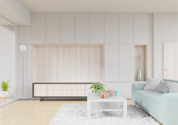Salon avec meuble tv, canapé et table sur tapis et étagères