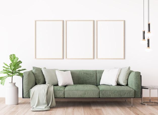 Salon minimal avec un canapé moderne