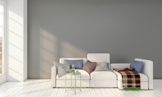 Salon minimal avec canapé et table d'appoint