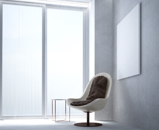 Le salon minimal et la décoration de meubles simulés et le fond de mur en béton