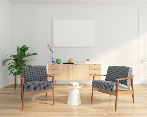 Salon minimal avec fauteuil et buffet