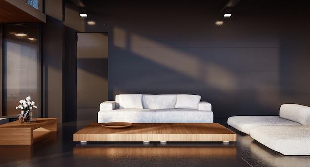 Salon minimal et mur noir
