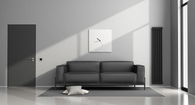 Salon minimaliste avec canapé noir et porte fermée. rendu 3d