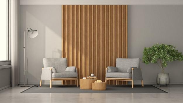 Salon minimaliste avec deux fauteuils contre panneau en bois, table basse et lampadaire - rendu 3d