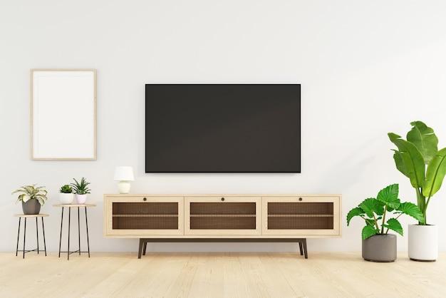 Salon minimaliste avec meuble tv et table d'appoint, mur blanc et plante verte. rendu 3d