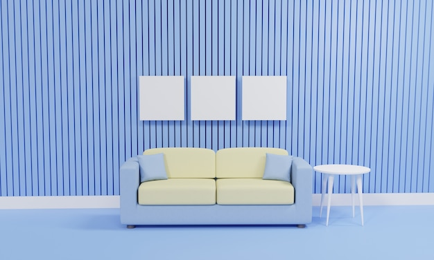 Salon minimaliste de rendu 3d avec canapé contre mur bleu
