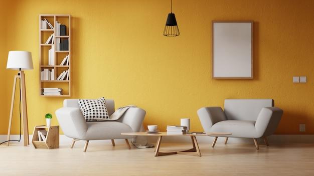 Salon moderne avec une affiche vide sur le mur