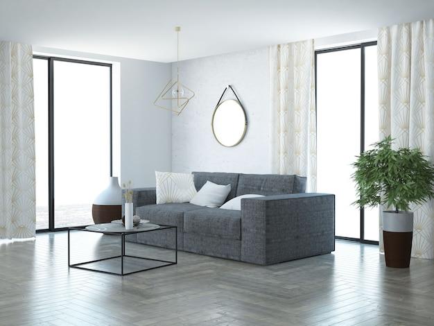 Salon moderne blanc avec des décorations en or