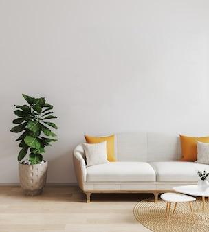 Salon moderne avec canapé blanc. maquette de salon lumineuse. style scandinave, intérieur de salon élégant et confortable. rendu 3d, illustration 3d