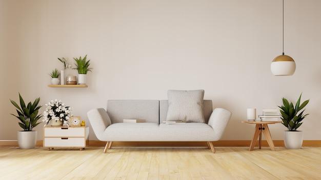 Salon moderne avec canapé blanc, meuble et étagères en bois sur parquet et mur blanc, rendu 3d
