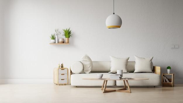 Salon moderne avec canapé blanc, meuble et étagères en bois sur parquet et mur blanc