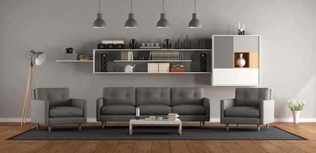 Salon moderne avec canapé, fauteuil et bibliothèque - rendu 3d