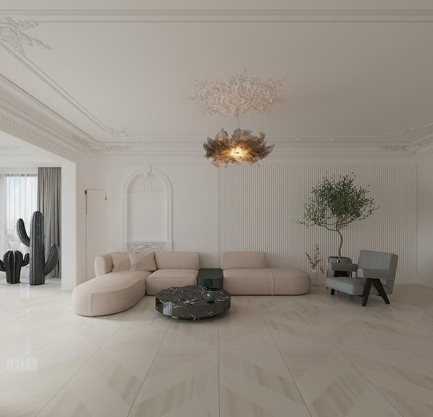Salon moderne avec canapé, fauteuil, table basse et sol en céramique