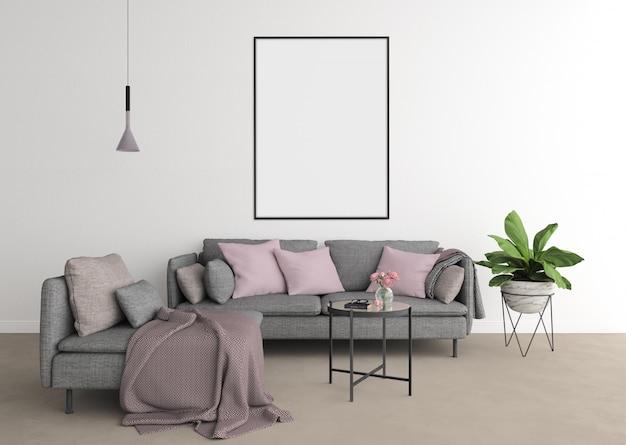 Salon moderne avec canapé gris et cadre vertical