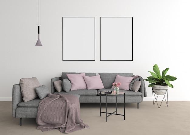 Salon moderne avec canapé gris et cadre