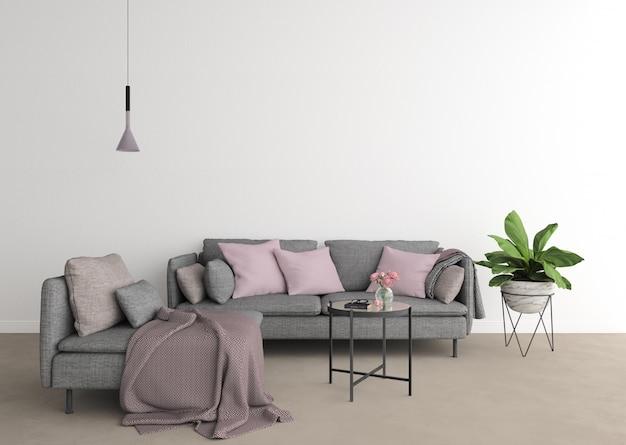 Salon moderne avec canapé gris et mur blanc