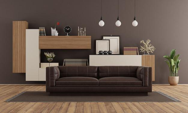 Salon moderne avec canapé marron et bibliothèque