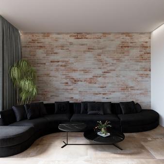 Salon moderne avec canapé noir devant le mur de briques