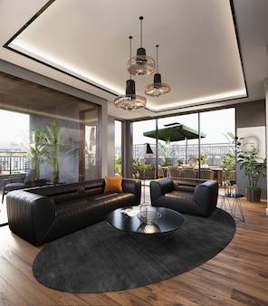 Salon moderne avec canapé noir sur le plancher en bois, rendu 3d