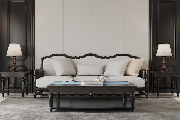 Salon moderne avec canapé et oreiller blanc