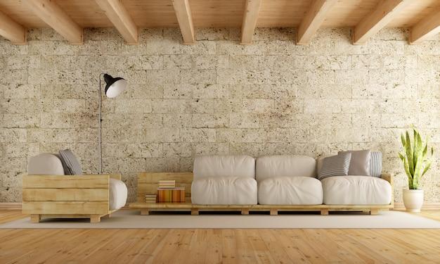 Salon moderne avec canapé-palette