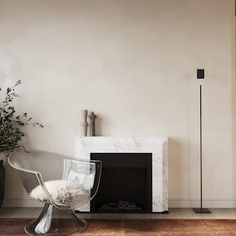 Salon moderne avec cheminée et fauteuil rendu 3d