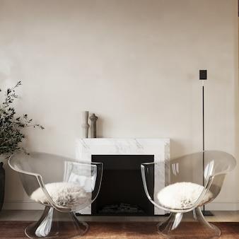 Salon moderne avec cheminée et fauteuils