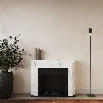 Salon moderne avec cheminée rendu 3d