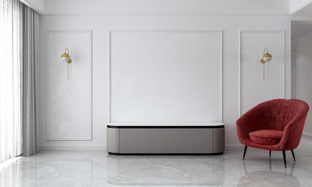 Le salon moderne et confortable et la décoration de meubles simulés et le fond de mur blanc