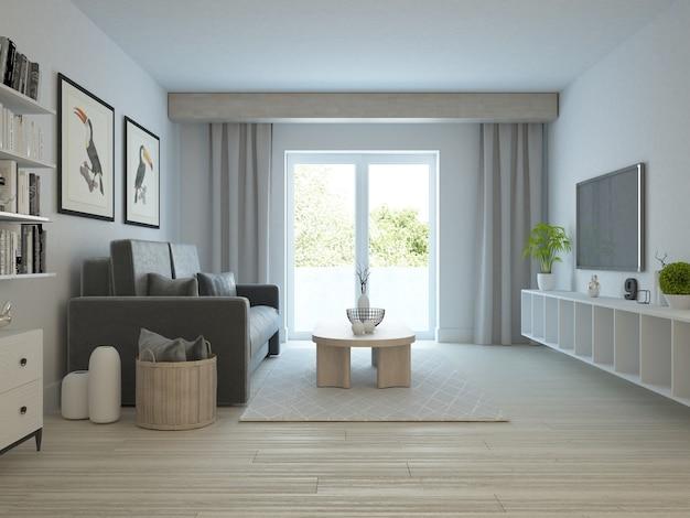 Salon moderne et confortable avec fenêtre et jardin