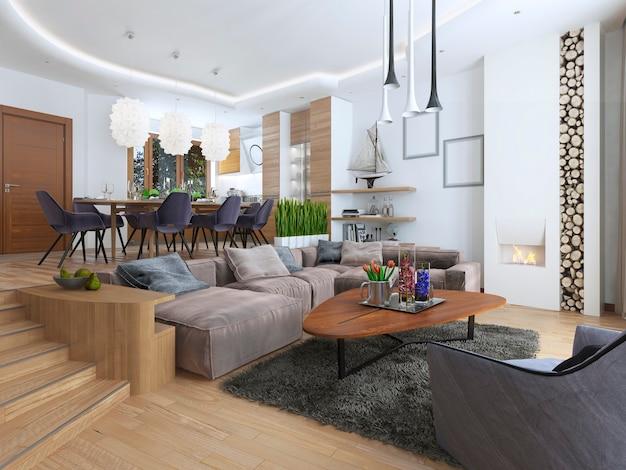 Salon moderne dans un style loft et se fondant en douceur dans la cuisine salle à manger avec grand canapé d'angle avec des étagères avec des décorations et une chaise moelleuse avec un lampadaire.