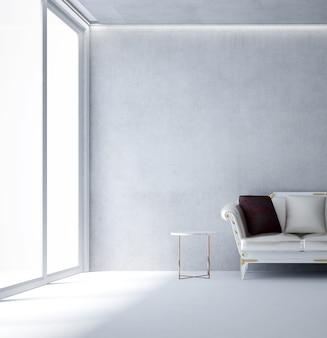 Le salon moderne et la décoration de meubles simulés et le fond de mur de béton vide blanc