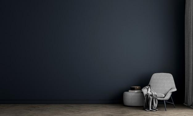 Le salon moderne et la décoration de meubles simulés et le fond de mur bleu vide