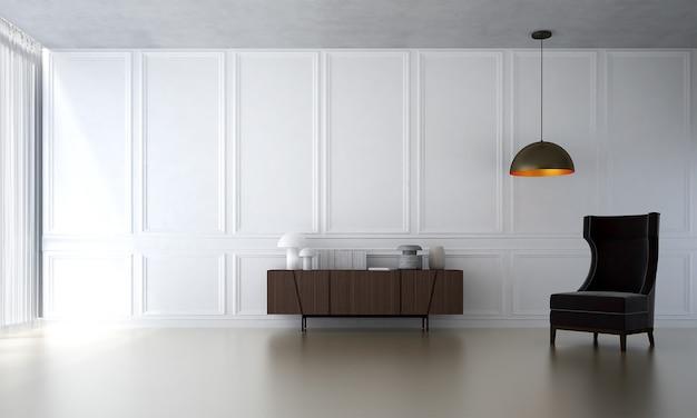 Le salon moderne et la décoration de meubles simulés et le fond de mur à motif blanc
