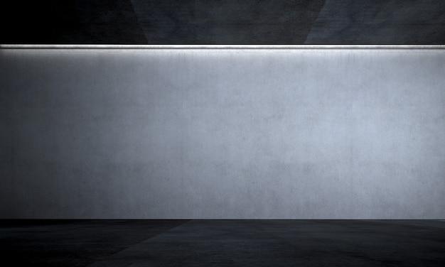 Le salon moderne et la décoration de meubles simulés et le fond de mur vide et le sol noir
