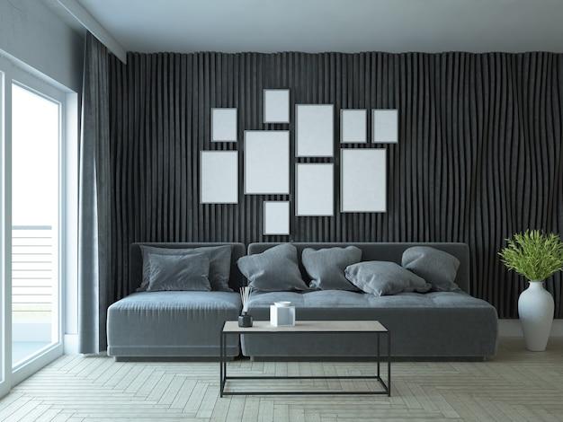 Salon moderne et élégant avec canapé et mur décoratif