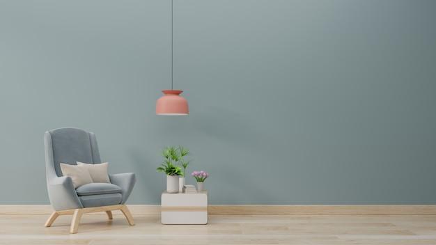 Le salon moderne avec fauteuil bleu a des armoires et des étagères en bois sur un sol en bois et un mur bleu.