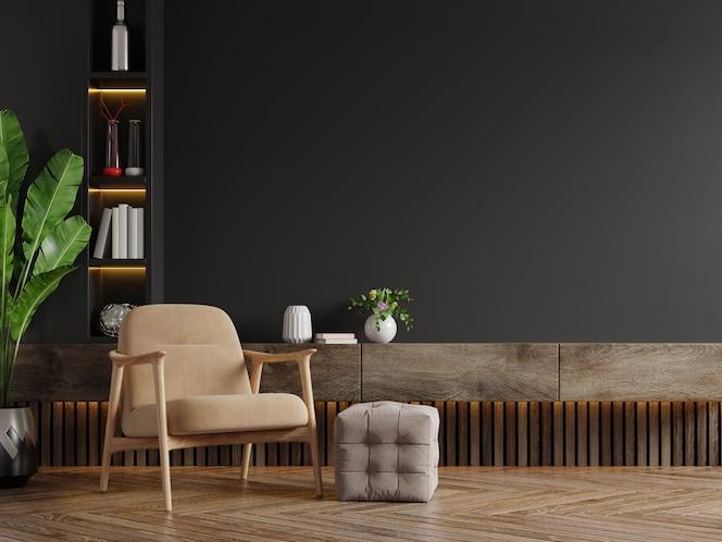 Salon moderne avec fauteuil, table, fleur et plante sur mur noir, rendu 3d